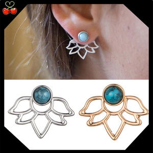 🍒 Blue Stone Lotus Flower Ear Jackets